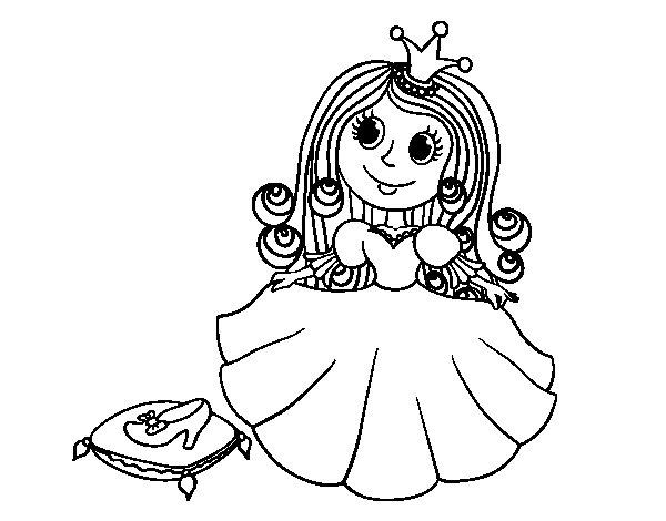 Desenho de Princesa sapatinho de cristal para Colorir