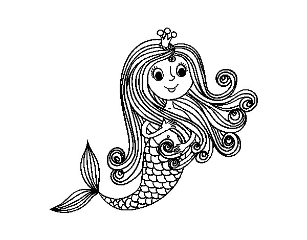 Desenho de Princesa sereia para Colorir