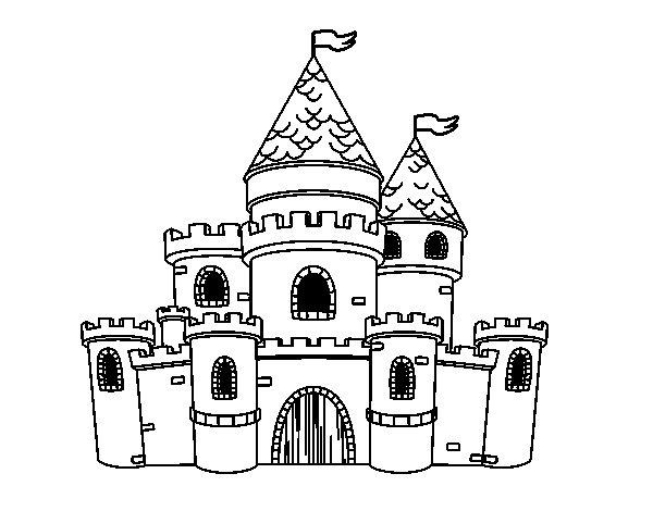 Desenho de Princesas do castelo para Colorir