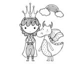 Desenho de Príncipe e dragão para colorear