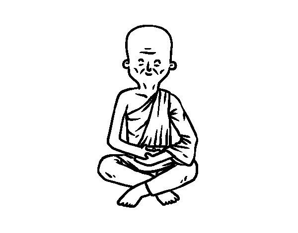 Desenho de Professor budista para Colorir