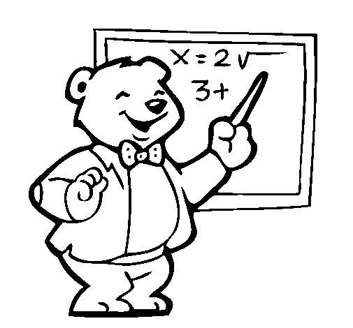 Desenho de Professor urso para Colorir