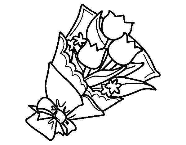 Desenho de Ramo de Tulipa para Colorir