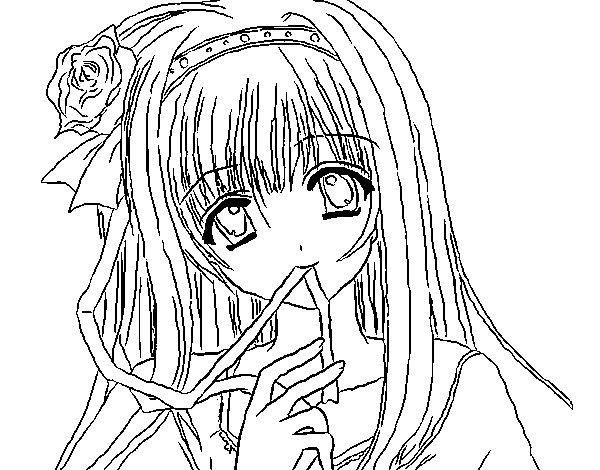 Desenho de Rapariga anime para Colorir