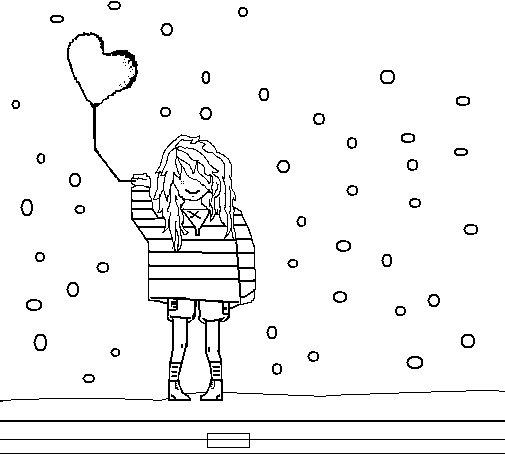 Desenho de Rapariga com balões para Colorir