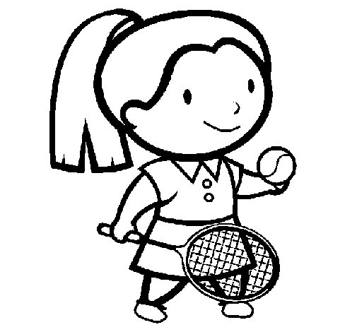 Desenho de Rapariga tenista para Colorir