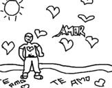 Desenho de Rapaz apaixonado 2 para colorear