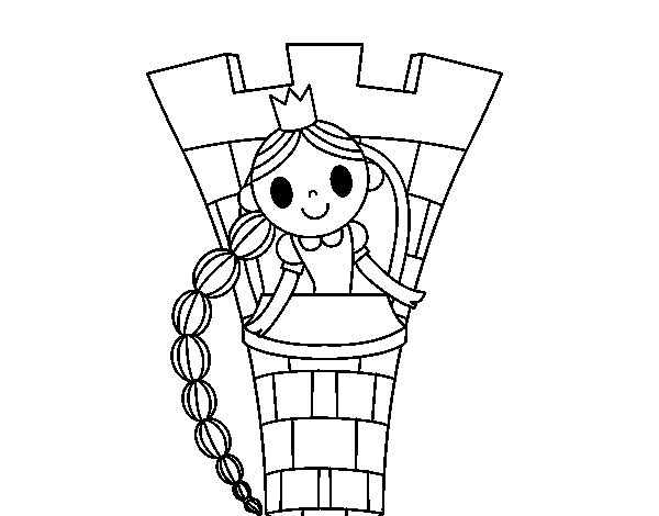 Desenho de Rapunzel na torre para Colorir