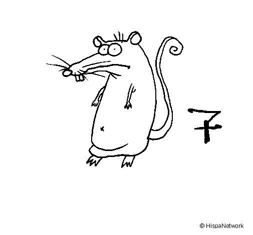 Desenho de Rato 2a para Colorir