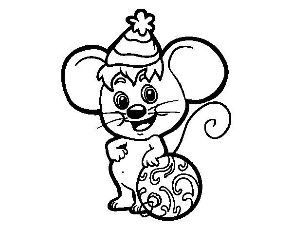 Desenho de Rato com chapéu de Natal para Colorir