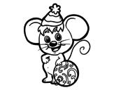 Desenho de Rato com chapéu de Natal para colorear
