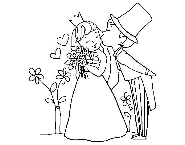 Desenho de Recém-casados príncipes para Colorir