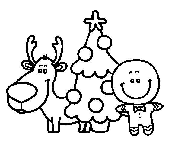Desenho de Rena, árvore e marzipã para Colorir