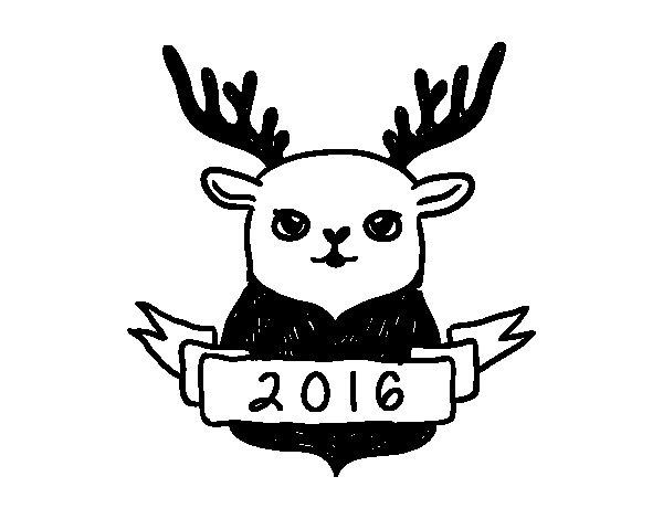 Desenho de Rena de véspera de Ano Novo para Colorir