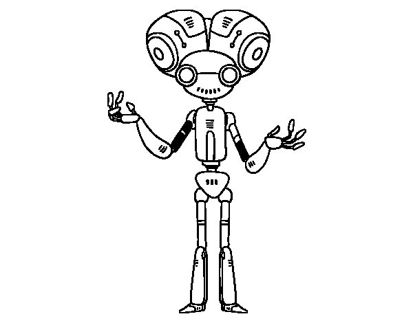 Desenho de Robô com cabeça grande para Colorir