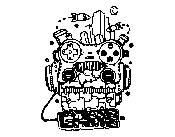 Desenho De Robô Game Para Colorir