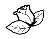 Desenho de Rosa com folhas para colorear