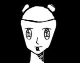 Desenho de Rosto de menina com tranças para colorear