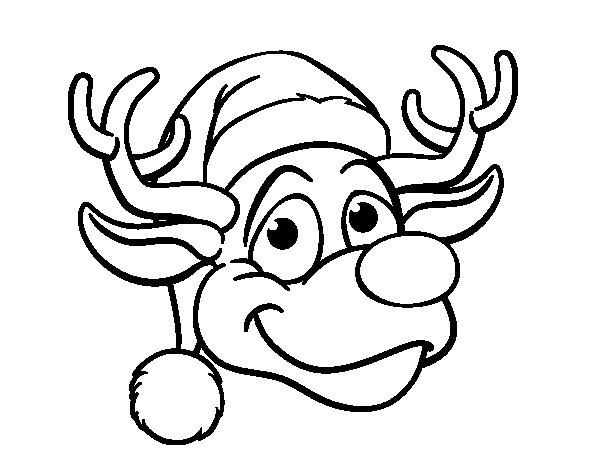 Desenho de Rudolph face rena para Colorir