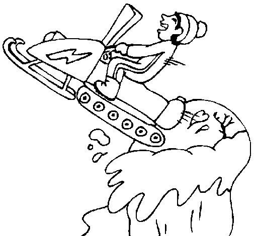 Desenho de Salto com moto de neve para Colorir