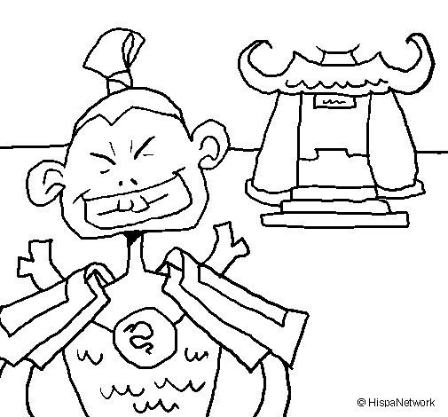 Desenho de Samurai para Colorir