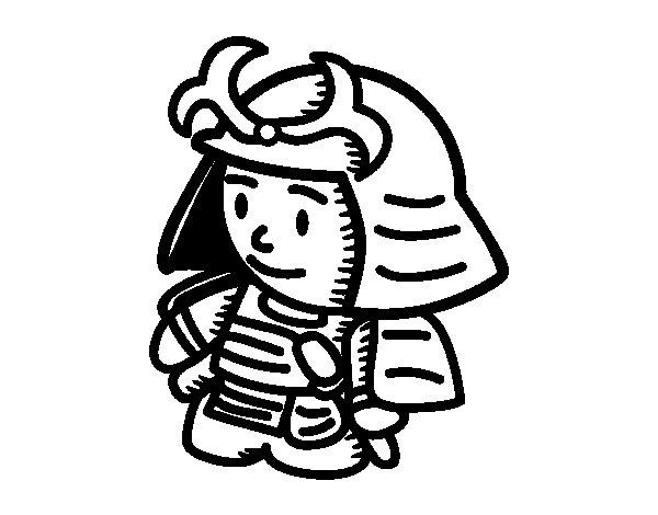 Desenho de Samurai com armadura para Colorir
