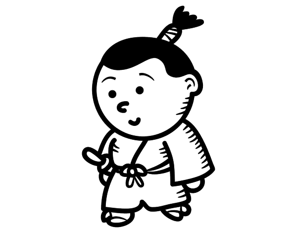 Desenho De Samurai Criança Para Colorir