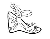 Desenho de Sandália de cunha para colorear