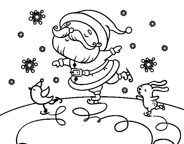 Desenho de Santa Claus a patinar para Colorir