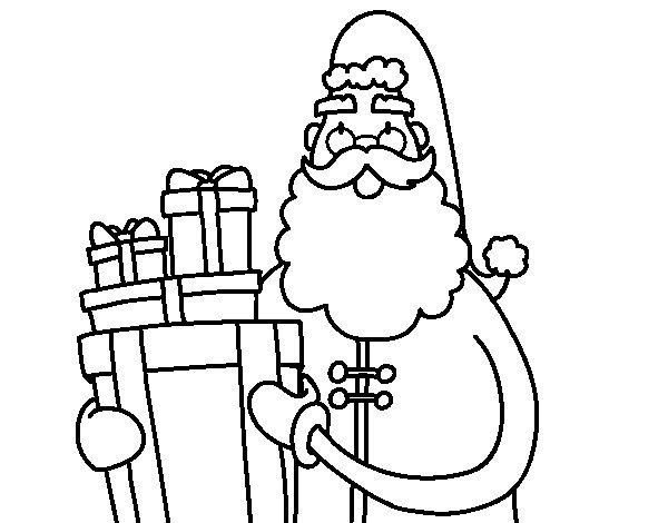 Desenho de Santa Claus com presentes para Colorir