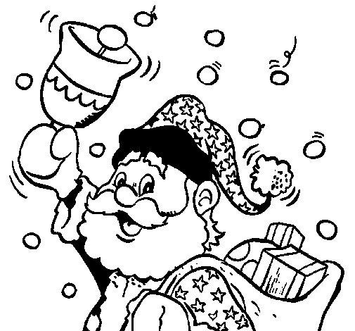 Desenho de Santa Claus e o seu sino para Colorir