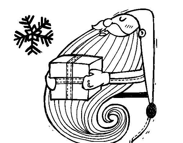 Desenho de Santa com o presente para Colorir