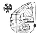 Desenho de Santa com o presente para colorear