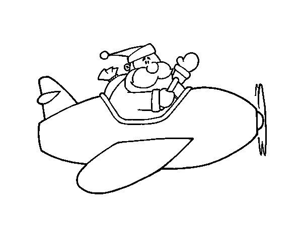 Desenho De Santa No Avião Para Colorir