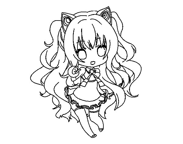 Desenho de SeeU Chibi Vocaloid para Colorir