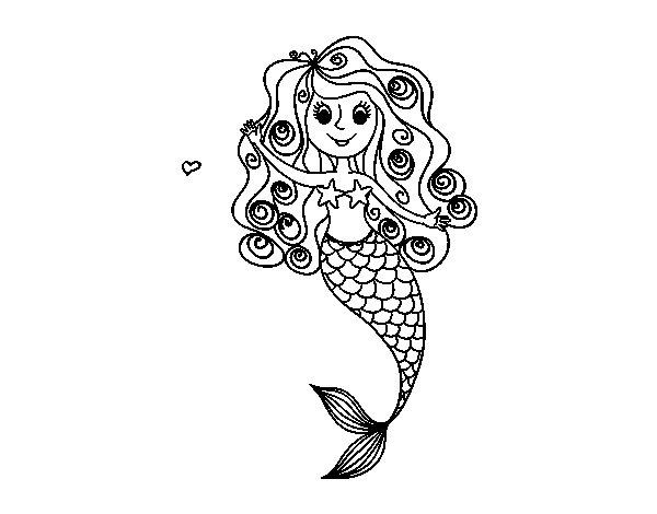 Desenho de Sereia com cachos para Colorir