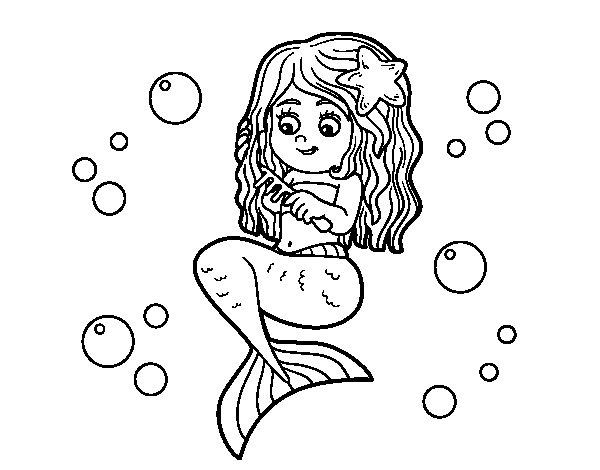 Desenho de Sereia que penteia seu cabelo para Colorir