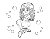Desenho de Sereia que penteia seu cabelo para colorear