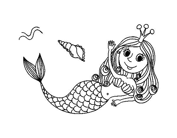 Desenho de Sereia saudando para Colorir