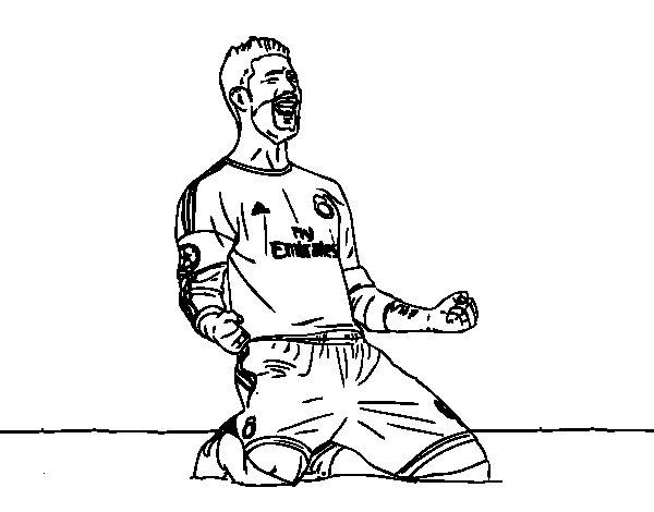 Desenho de Sergio Ramos comemorando um gol para Colorir