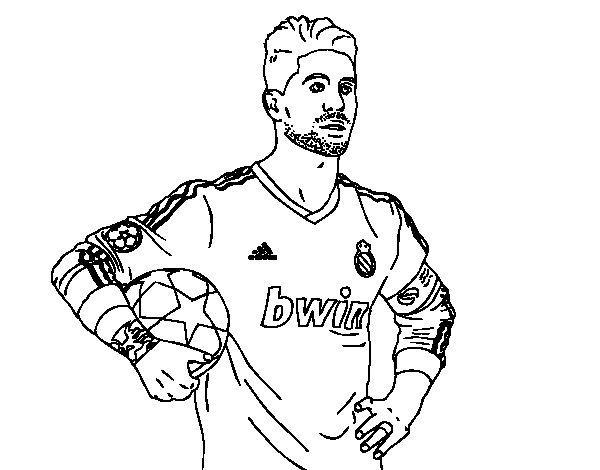 Desenho de Sergio Ramos do Real Madrid para Colorir