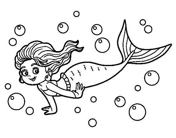Desenho de Sireia do mar para Colorir