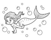 Desenho de Sireia do mar para colorear