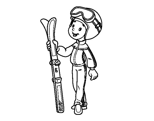 Desenho de Ski para Colorir