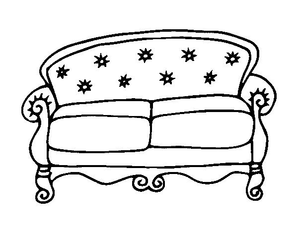 Desenho de sof chesterfield para colorir for Sala de estar png