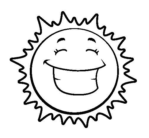 Desenho de Sol contente para Colorir