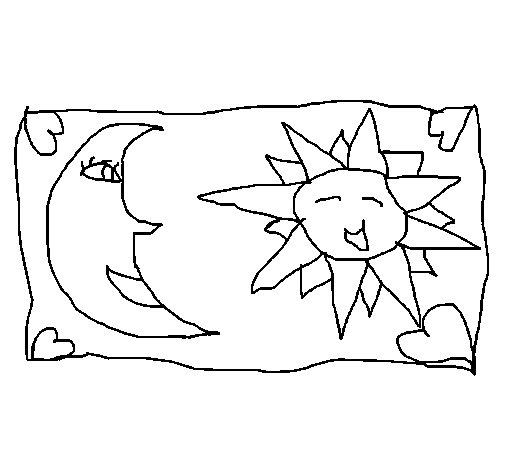 Desenho de Sol e Lua 2 para Colorir