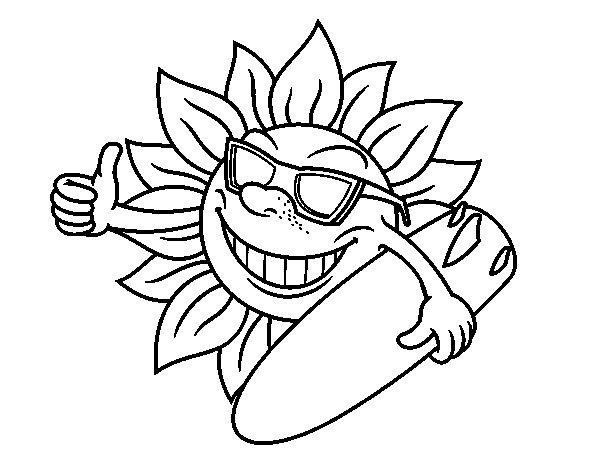 Desenho de Sol Surfer para Colorir