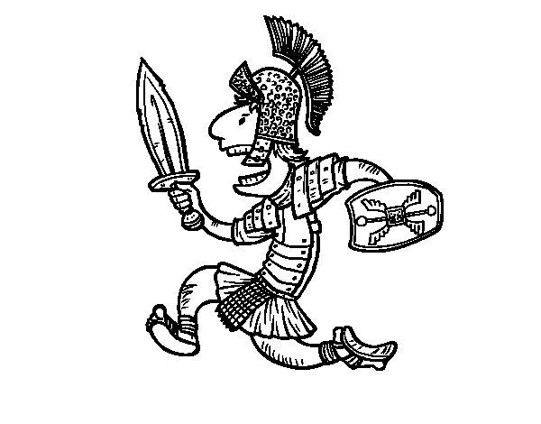 Desenho de Soldado romano atacante para Colorir