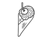Desenho de Sorvete com cereja para colorear